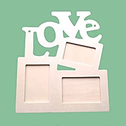 Amison LOVE Marco de fotos de madera DIY Marco la decoración del arte Base blanca