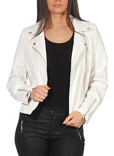 Malito Damen Jacke   Kunstleder Jacke   Jacke mit Zipper   lässige Bikerjacke - Faux Leather 5177 (weiß, XL)