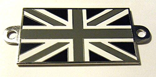 Union Jack Metall selbstklebend emailliert/SHADED grau Flagge Classic Car Badge angeschraubter