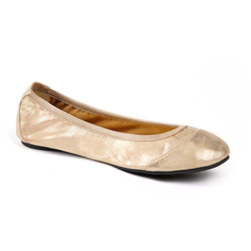 Cocorose Faltbare Schuhe - Barbican Damen Ballerinas - Gold Schimmer - größe 39 -