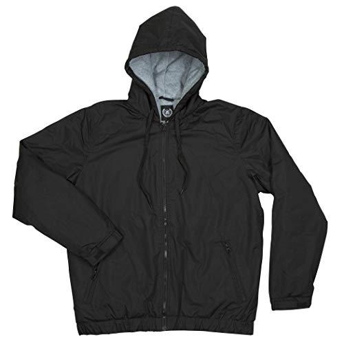 North 15 Herren Bomberjacke mit Kapuze, Nylon, Polarfleece-Futter, Größe S - 3XL - Schwarz - XX-Large Fleece-lined Hooded Nylon Jacket