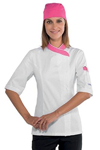 Isacco Jacke Lady Snaps Weiß + Fuchsia + Fuchsia, XL, 100% Baumwolle, halbweiße Baumwolle Xl Workwear-snap