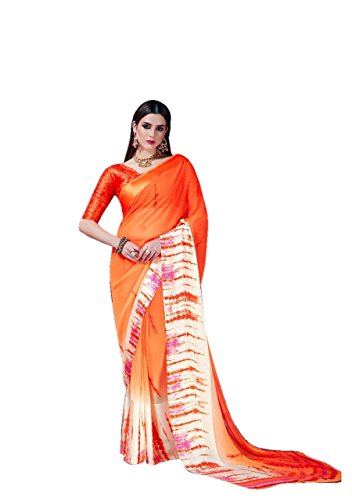 Radiance Star Women's Georgette Designer saree With Printed Sartin Border New Arrival...