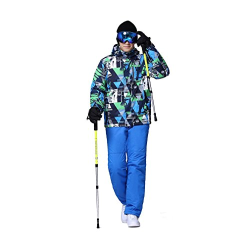 GOMYHOM Herren Skianzug Jacke + Hosen, Snowboard Ski Anzug Sport Wasserdicht Winddicht Breathable (XL, Farbe 3)