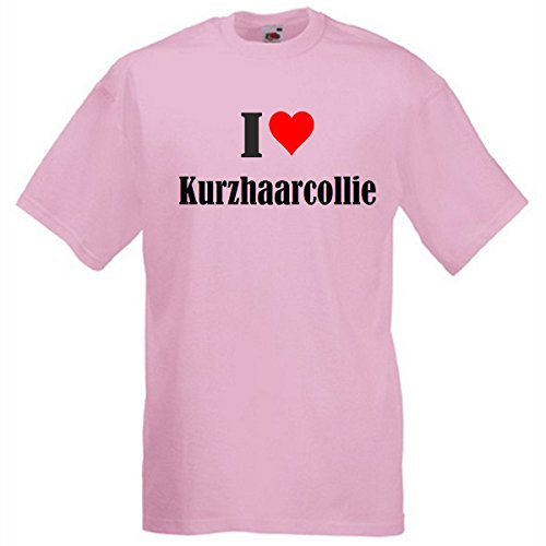 """T-Shirt """"I Love Kurzhaarcollie"""" für Damen Herren und Kinder in Pink Pink"""