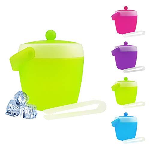 Eiswürfelbehälter mit Zange und Deckel - verschiedene Farben wählbar - Eiskübel - Eiseimer, Farbe:Grün