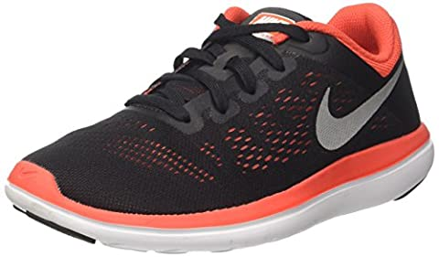 Nike Flex 2016 Rn Gs, Unisex Kids' Sneakers, Black (Black/mtlc Silver/max Orange/orchid/white), 5 UK (38.5 EU)
