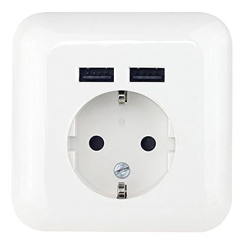 Wonplug - Steckdose mit 2 x USB-Port + Abdeckung   Schutzkontakt-Steckdose   USB mit Smart-IC für optimale Ladeströme (Android/Apple)   bis zu 2100mA Ausgangsstrom (USB)   CE, TUV