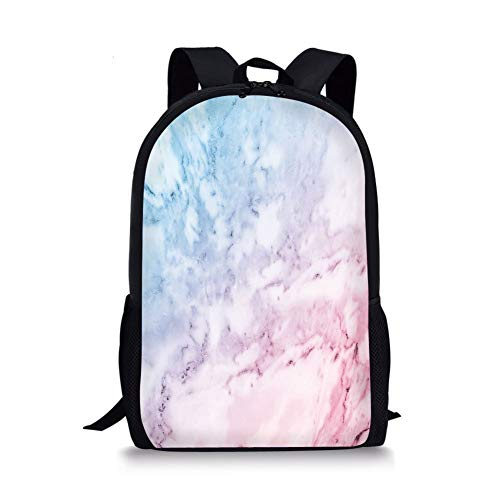 School Bags Marble,Pastel Toned Cloudy Hazy Crack Lines Stained Antique Shabby Chic Design,Light Blue Baby Pink for Boys&Girls Mens Sport Daypack
