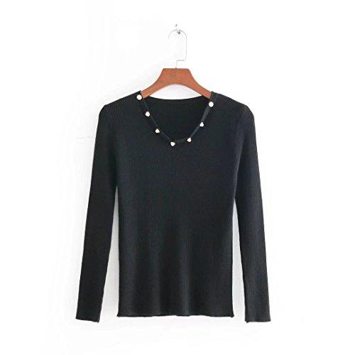 QIN&X Col en V femmes Slim occasionnels Haut Tricot Pull laine mélangée Cavaliers Black