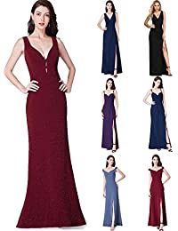 Ever-Pretty Vestito da Sera Donna Lungo Elastico Brillante Spaccato V-Collo  07417 c73e3c0c910