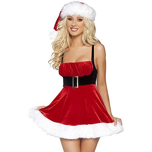 CHIC-CHIC Damen Weihnachtskleid Tanzkleid Weihnachten Kostüm Flanell Sexy Reizwäsche Ms Santa Claus (Santa Claus Kostüm Frauen)