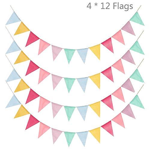 arbige Wimpel Banner Flaggen Fabric Dreieck Flagge Stoff Nylon Bunting Fahnen Wimpel Flags Kette Dekoration Flagge für Draussen Garten Festival Hochzeit Halloween Weihnachtsfeier ()