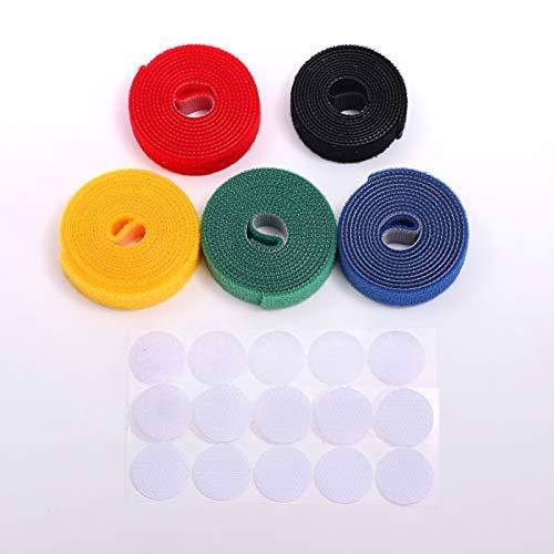 AllyouNeat-bunte Befestigungsbänder mit Klettverschluss, wiederverwendbare Gurte, Haken- und Schlaufen-Kabelbinder, 0,6 cm breit, 99 cm lang, 5 Rollen in einem Set -