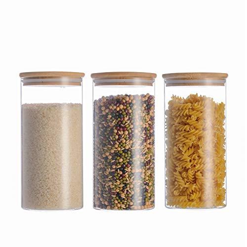 Leaf house barattoli di vetro, contenitori barattoli per la conservazione degli alimenti con coperchio di legno bambù ermetico per tè caffè farina cereali fagioli, vetro borosilicato (10x20cm)