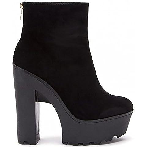 Ladies Womens Finto Camoscio D'oro Cerniere Con Incisioni Piattaforme Caviglia
