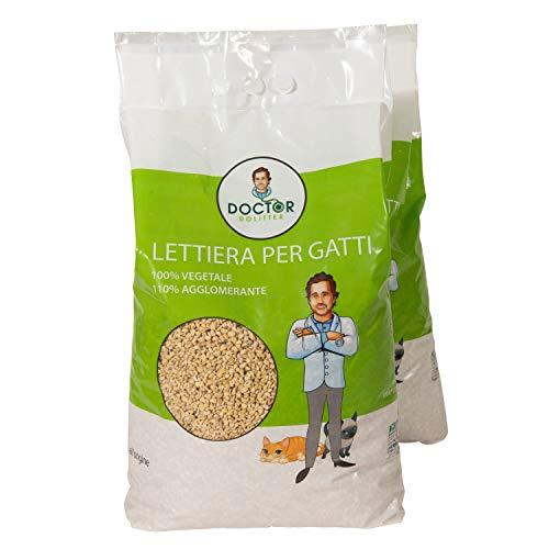 Doctor Dolitter Lettiera Gatti 20 Litri (2 Sacchetti da 10 Litri) Sabbia Vegetale Agglomerante Antiodore Antipolvere e Smaltibile nel WC