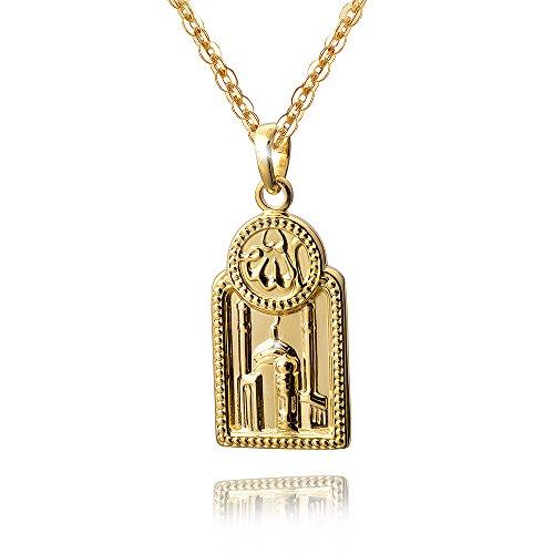 MATERIA Herren Anhänger Silber 925 vergoldet Koran Moschee Islam für Halskette #KA-354