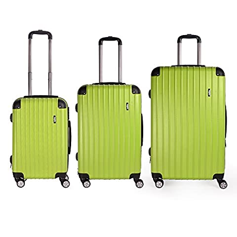 Sunydeal ABS Hard Shell Luggage Trolley Bag Case Super Lightweight 4 Wheel Spinning Suitcase Sets of 3 ( 20