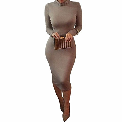 QIYUN.Z Femme Brun Col Haut a Manches Longues Coton Stretch Moulante Robe De Cocktail De contracte Serre Brun