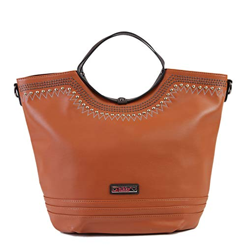 d6bbfc6c0510 Nikky Women's Casual Brown Large Zipper Closure Tote Shoulder Bag Travel,  One Size