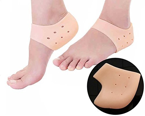 LEDZZ Unisex Vented Moisturizing Silicone Gel Heel Socks for Swelling, Pain Relief, Foot Care Ankle Support Pad (Skin Colour) - Set of 1 Pair