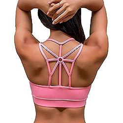 YIANNA Femme Soutien-Gorge de Sport Coussinets Amovibles sans Couture Sports Bra Push Up,UK-YA-BRA139-Pink-S