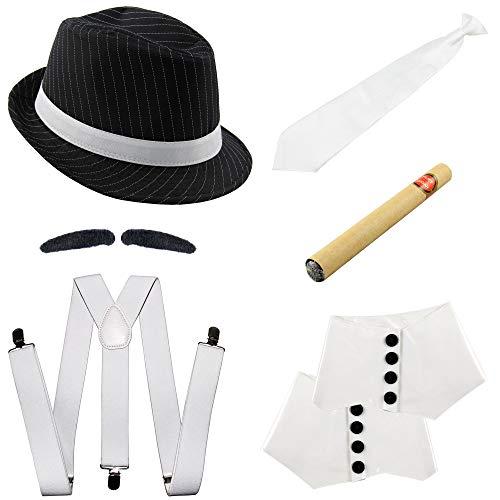Foxxeo Gangster Kostüm Set mit Hosenträger, Krawatte, Hut, Zigarre, Gamaschen und Bart - 20er Jahre Karneval Fasching Motto Party