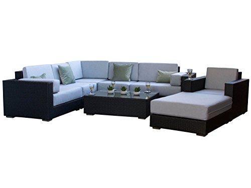 Siena Negro al aire libre moderno jardín juego de sofá en esquina de ratán con piedra gris cojines–totalmente montado, modular