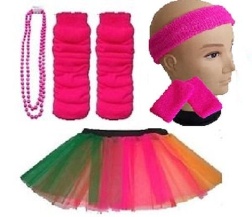 Plus Size 16-24 - Neon Tutu, Headband, Wristbands, Legwarmers & Beads Necklace