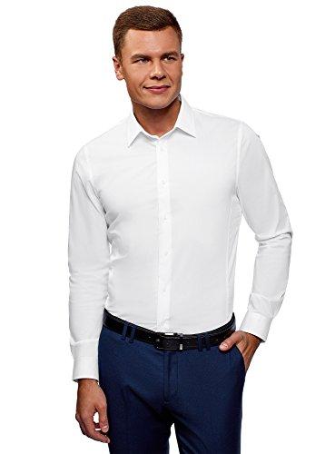 Oodji ultra uomo camicia basic con maniche lunghe, bianco, 40cm / it 46 / eu 40 / s