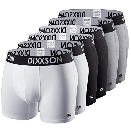 DIXXSON Basic Men Underwear 6er Pack Boxershorts Herren (XL, White Black Grey)