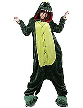 LATH.PIN Jumpsuit Tier Karton Fasching Halloween Kostüm Sleepsuit Cosplay Fleece-Overall Pyjama Schlafanzug Erwachsene...