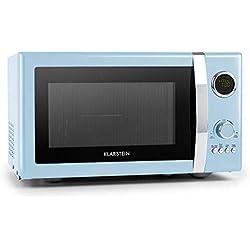 KlarsteinMicroondas Grill Retro • Carcasa metálica • 23 L • 800 W de potencia de microondas • 1000 W de potencia del grill • Programable • 12 programas • pantalla LCD • Azul