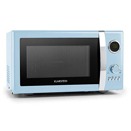 Klarstein Fine Dinesty Microondas Grill Retro • Carcasa metálica • 23 L • 800 W de potencia de microondas • 1000 W de potencia del grill • Programable • 12 programas • pantalla LCD • Azul