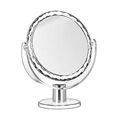 Idea Regalo - Relaxdays 10021950 Specchio da Trucco Ingranditore Make up Specchiera da Tavolo Specchietto Tondo HLP: 23 x 19 x 10 cm, Trasparente