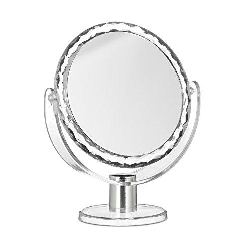 Relaxdays Kosmetikspiegel Vergrößerung, Schminkspiegel stehend, Make Up Spiegel rund, HBT: 23 x 19...