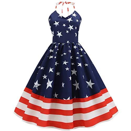 HHyyq Independence Day Frauen Vintage ärmellose V-Ausschnitt American Flag Print Kleid Sommer Vintage Damen Halfter Halfter Print Großes Kleid(Blau 1,L) Jersey Knit Halter Top