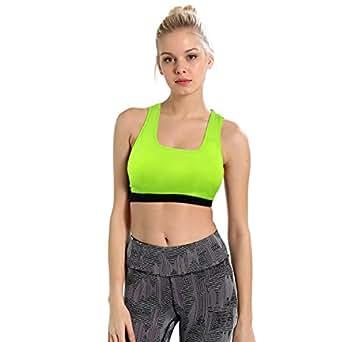 5d5c7b5ea2 ... CHKOKKO Women s Running Racer Back Non Wired Padded Sports Bra (Green