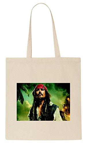 Johnny Depp Captain Jack Sparrow Pirates of Caribbean T-shirt Tote (Pirate Shirt White)