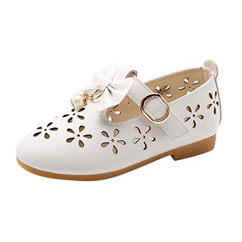 Babyschuhe Ballerinas/Dorical Mädchen Sommer Rutschfeste Schuhe/Kinderschuhe mit Butterfly-Knot Perle Hohl Outdoor Casual Schuhe Party Prinzessin Schuhe Festliche Schuhe 21-36 EU(Weiß,28 EU)