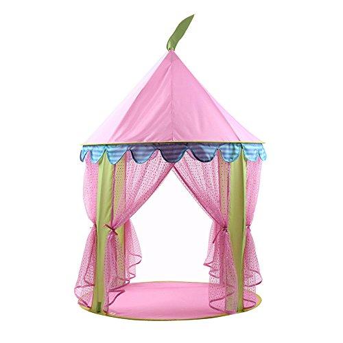 Tente de Juego para Niños Pink Princess Gauze Sequins Round Yurts Tiendas de Interior y al Aire Libre de Juguetes (Sólo una Tienda)