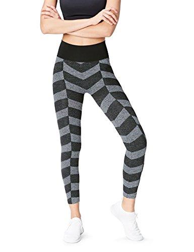 FIND Seamfree Chevron - Legging de sport - Femme Gris (Black/grey Marl)