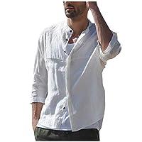 Zrom T Shirt for Men Stylish,Men Three Quarter Vintage Linen Solid Short Sleeve Retro T Shirts Tops Blouse