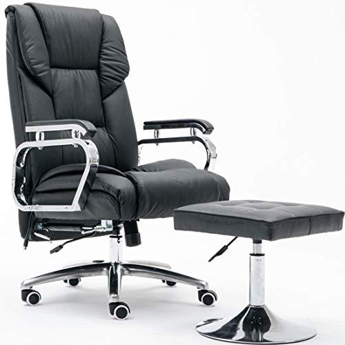 GL-Racing Bürodrehstuhl Computer PU-Leder Lounge Sessel Sofa mit verlängerter Beinstütze und Verstellbarer Schreibtischstuhl (Farbe: Schwarz) -