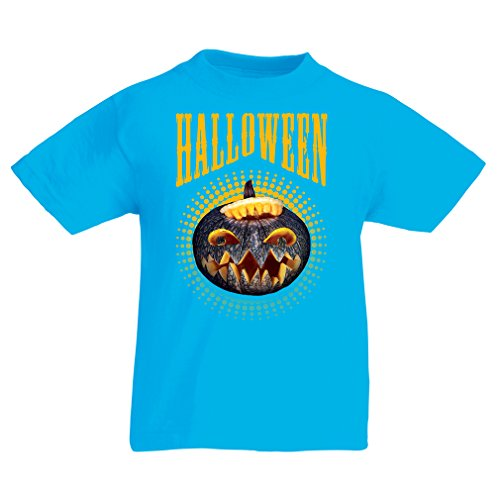 Kinder T-Shirt Halloween Kürbis - Party Kostüm Ideen 2017 (3-4 years Hellblau (Halloween Kostüm Logan)