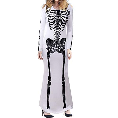 SilenceID Frauen Halloween kostüm Skeleton Print Cosplay Party Dress Langarm Rundhalsausschnitt Halloween kostüm - Sexy Incredibles Kostüm