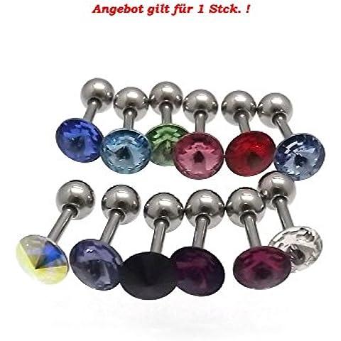 Piercing Dreams Tragus–Juego de 16pendientes para orejas (1,2x 6mm, acero quirúrgico con cristales color a elegir,