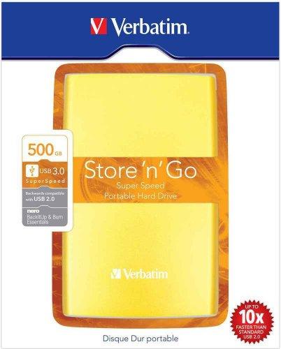 Verbatim Store 'n' Go Portable 500GB externe Festplatte (6,4 cm (2,5 Zoll), 5400rpm, 8MB Cache, USB 3.0) gelb