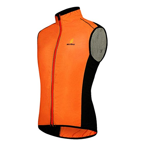 Baoblaze Gilet Cappotto Sportivo Da Running Antivento Riflettente Da Ciclismo Attrezzo - Arancia, XL